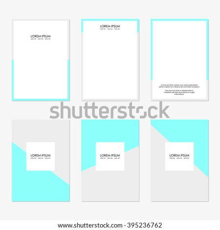 Set of six clean sheets with light gray and blue azure turquoise A4 size. The modern design of the blank template for a flyer, poster, brochure, business brochures.