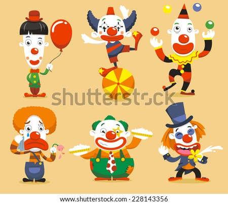 set of six clown performing different fun activities vector cartoon illustrations - stock vector