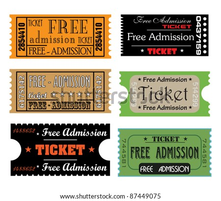 Set of six colorful free admission tickets made in different styles - stock vector