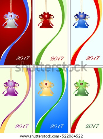Set of six congratulation card to Christmas and New year