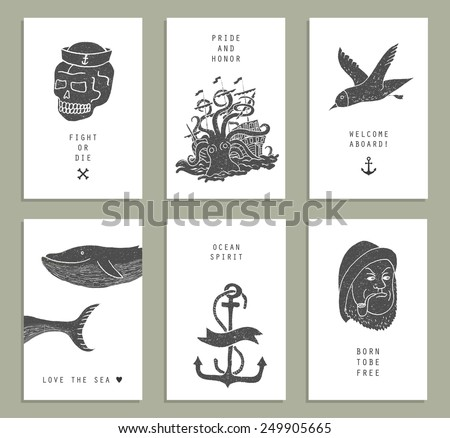set six creative cards marine themes stock vector royalty free