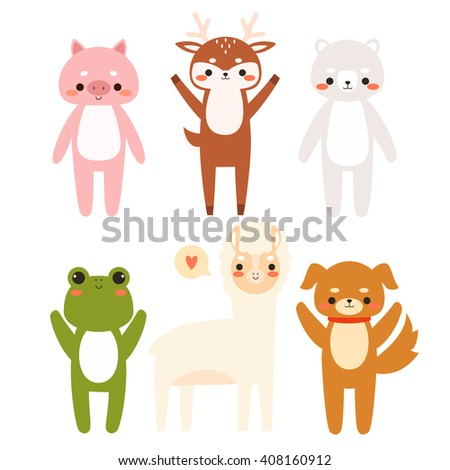 set of six cute cartoon animals. Illustration of cute dog, piggy, deer, polar bear and alpaca. Can be used like stickers, for birthday cards and party invitations - stock vector
