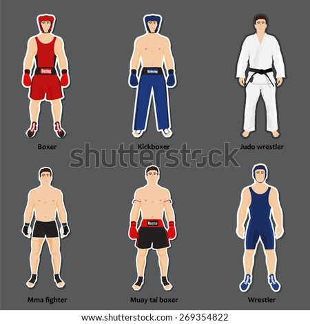Set of six different fighters in sports equipment - stock vector