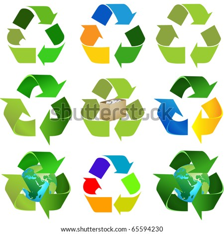 Set of six different kind of recycling sign, symbol isolated on white vector - stock vector