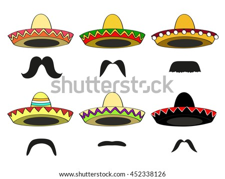 set of six different  Mexican sombrero hats and Latin-American mustaches