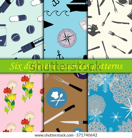 Set of six different seamless patterns, medical and flowers, kitchen and ship and snowflake, backgrounds, vector - stock vector