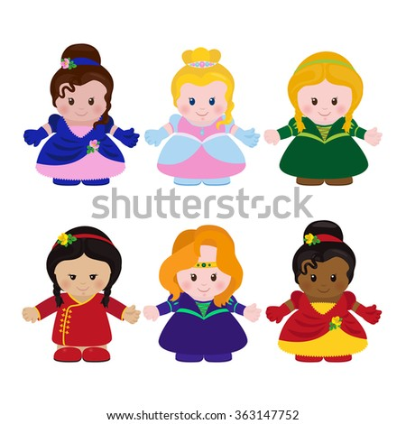 Set of six funny little princesses different nationality in cartoon style. Vector illustration. EPS 10  - stock vector