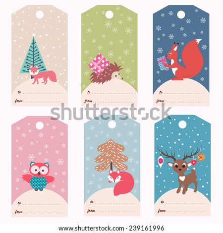 Set of six gift tags with animals (vector template) - stock vector