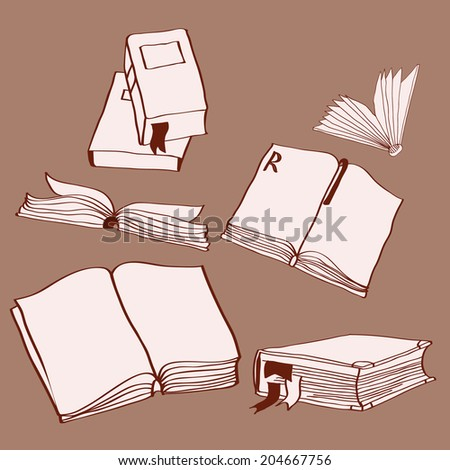 Set of six hand drawn books, vector illustration