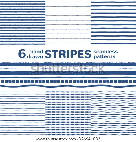 Set of six hand drawn seamless vector patterns with various stripes. Navy blue and white striped background. Rough, uneven edges. Sailor's vest textures. Different streaks backgrounds collection. - stock vector