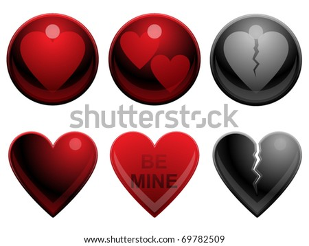 Set of six heart buttons for valentine's day - stock vector