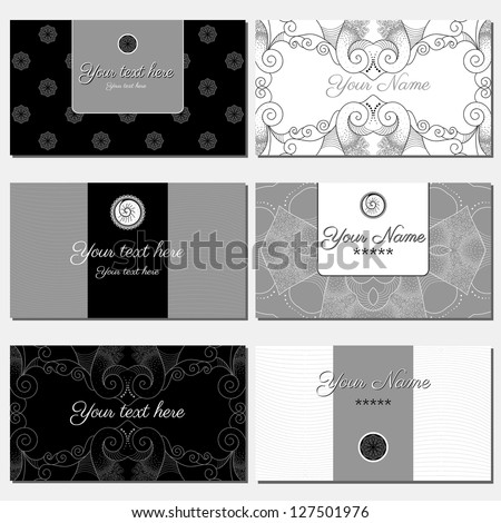 Set of six horizontal business cards. Abstract pattern. Black, gray and white. Complied with the standard sizes. - stock vector