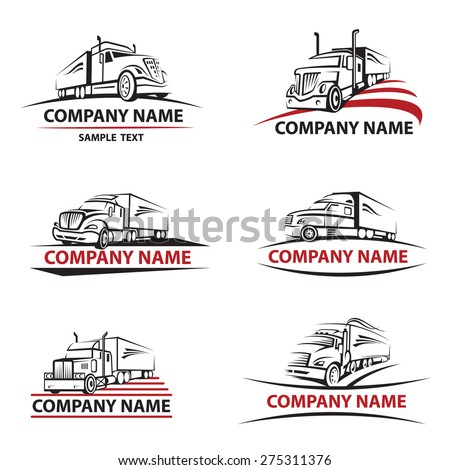 set of six icons with truck and trailer - stock vector