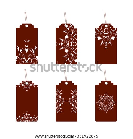 Set of six labels with ornament
