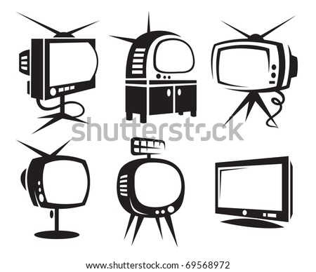 set of six monochrome TV - stock vector