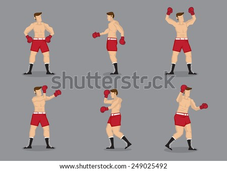 Set of six muscular beefcake wearing boxing gloves in different poses. Vector icons isolated on grey background.  - stock vector