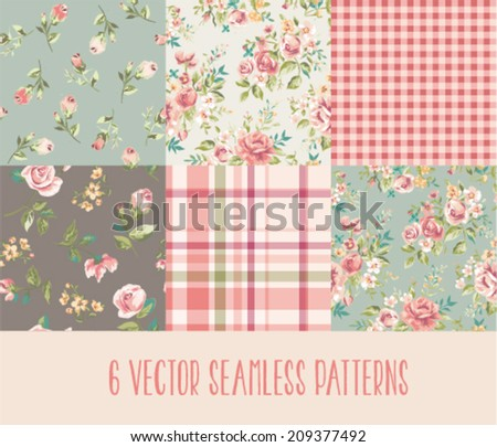 Set of six orated seamless vintage floral,flowers with checks vector background - stock vector