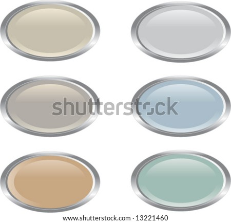 Set of six oval-shaped web buttons in muted colors (vector)