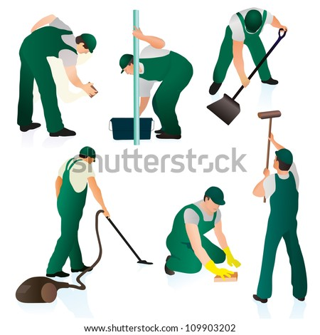 Set of six professional cleaners in green uniform - stock vector