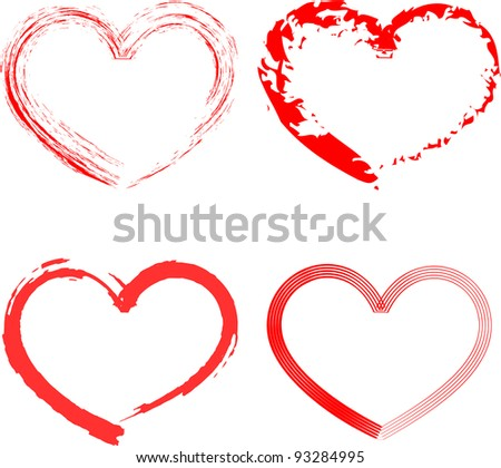 Set of six red hearts different forms - stock vector