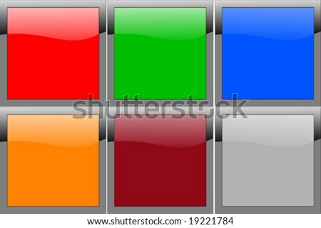 Set of six reflective color panels - stock vector