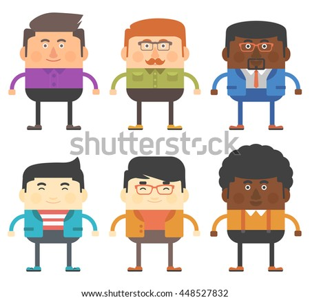 Set of six smiling happy men characters of Asian, Caucasian, African-American. Vector illustrations isolated on a white background.