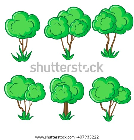 Set of six smooth young trees with grass isolated over white - stock vector