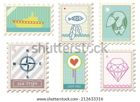 Set of six stamps - stock vector