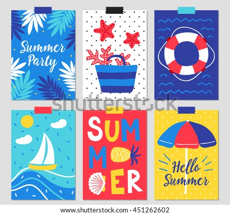 Set of six summer greeting cards with palm leaves, bag, starfish, coral, lifebuoy, sailing boat, beach umbrella and hand drawn letters. - stock vector