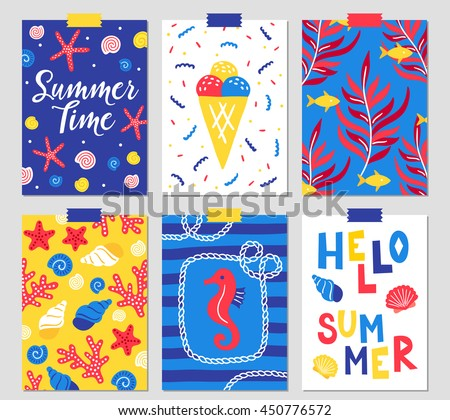 Set of six summer greeting cards with starfish, shell, ice cream, algae, fish, corals, sea horse, marine cable and hand drawn letters.  - stock vector