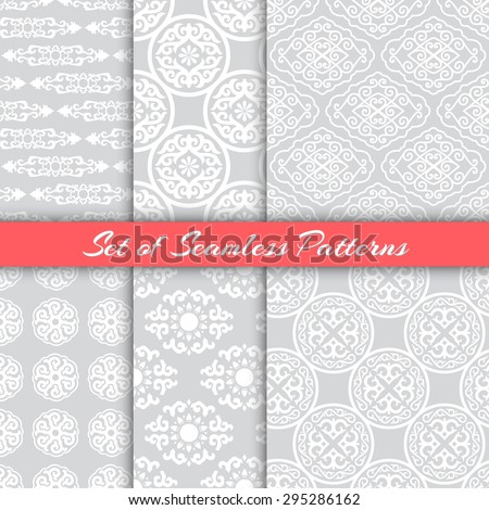 Set of six traditional seamless patterns. Ethnic ornaments. Vector endless backgrounds for wrapping, textile or wallpaper. - stock vector