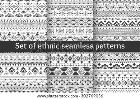 Set of six tribal seamless patterns. Black-white aztec geometric backgrounds. Stylish navajo design. Modern hand drawn abstract cards. Vector illustration. - stock vector