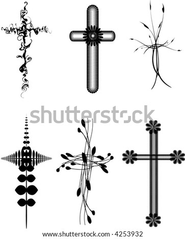 Set of six vector abstract, and organic cross designs. - stock vector