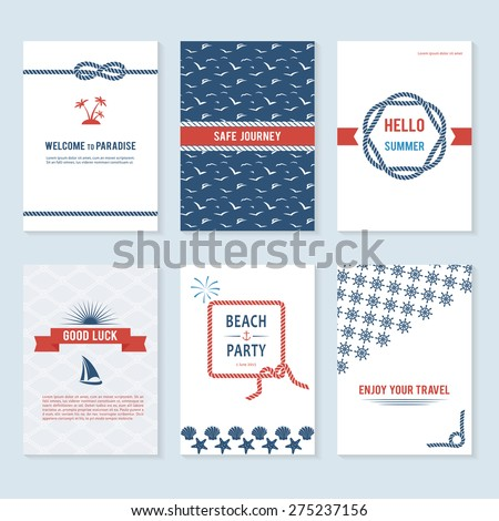 Set of six vector banner templates in marine style. Elegant invitation card. Celebration design. Graphic patterns. Greeting card. Beach party. Rope borders - stock vector