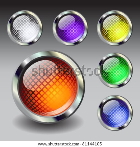 Set of six vector buttons - stock vector