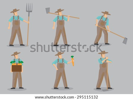 Set of six vector cartoon illustration of farmer wearing straw hat and overall using garden tools for various agriculture activities isolated on grey background. - stock vector