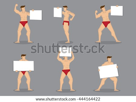 Set of six vector cartoon illustration of male body builder character in hot red briefs holding blank placard sign isolated on grey background.  - stock vector