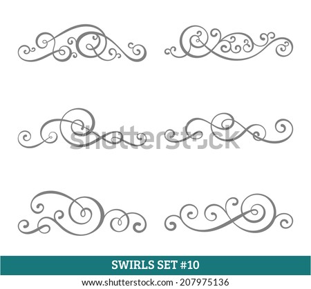 Set of six vector flourish swirls. Simple black contours on white. - stock vector
