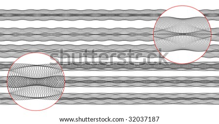set of six vector guilloche borders, pattern for currency, certificate or diplomas - stock vector