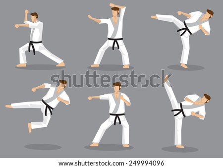 Set of six vector icons of full body cartoon man doing powerful kicks and punches isolated on grey background. Applicable to Karate and Taekwondo. - stock vector