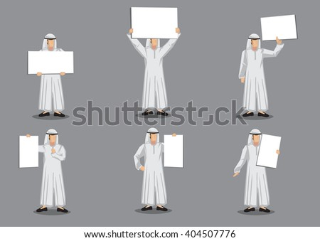 Set of six vector illustration of Arabic man in thawb, the traditional costume, holding placard with copy space isolated on grey background.