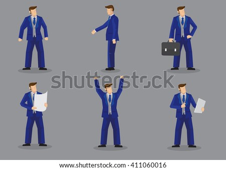 Set of six vector illustration of businessman wearing bright blue formal three piece business suit in different gestures isolated on grey background. - stock vector