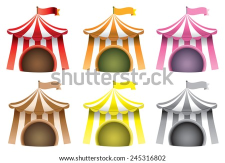 Set of six vector illustration of carnival tents typically used for circus isolated on white background. - stock vector