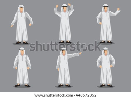 Set of six vector illustration of cartoon muslim man wearing traditional Islamic white robe costume with headgear in various gesture isolated on grey background. - stock vector