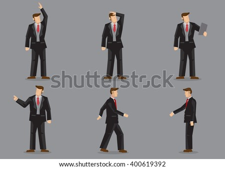 Set of six vector illustrations of cartoon businessman in different gestures isolated on grey background. - stock vector