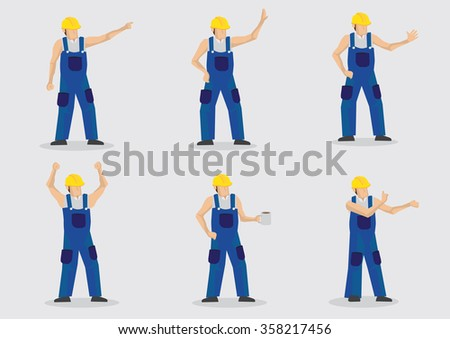 Set of six vector illustrations of cartoon construction worker wearing yellow protective work helmet and blue overall in various gestures isolated on plain background. - stock vector