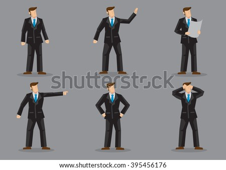 Set of six vector illustrations of faceless businessperson in black full suit and blue neck tie in different gestures and emotions isolated on plain grey background. - stock vector