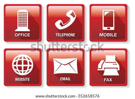 Set of six vector illustrations of red square buttons on business contact methods and  communication theme isolated on white background. - stock vector