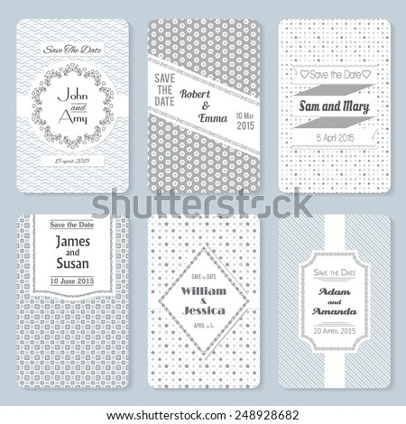 Set of six vector retro invitation templates in light colors. Elegant vintage wedding day card. Celebration design. Graphic patterns. Greeting banner.  - stock vector