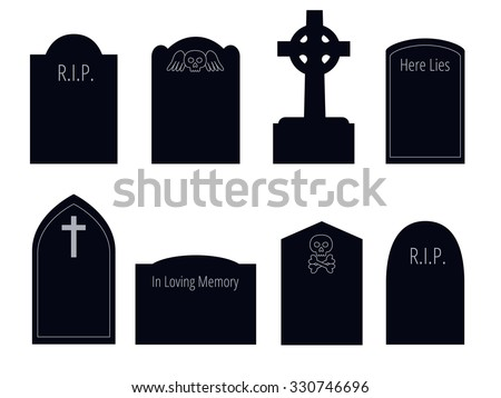set of six vector silhouettes of gravestones of different shapes with ornament and text - stock vector